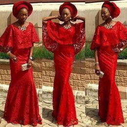 vestido de noite vermelho completo Desconto Sereia vermelha Completa Lace Nigeriano Vestidos de Noite Formal Colher Pescoço Com Cape Prom Vestido até o chão da África do Sul Vestidos de Noite das Mulheres