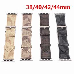 Argentina Bandas de cuero de lujo compatibles con Apple Watch Band 38m 40mm 42mm 44mm Series 4 3 2 1 Diseñador de reemplazo de cuero vintage pulsera Suministro