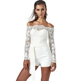 Women Slash Neck Playsuit Solid Floral Lace Off Shoulder Scalloped Eyelash Rompers  Summer Long Sleeve Belt Elegant Partywear ba4a14046