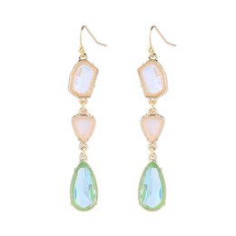 irregular shape plate Coupons - Free Shipping 2019 Water Drop Shaped Gold Rimmed Natural Stone Earrings Irregular Crystal Earrings Pearl Earrings For Women Jewelry