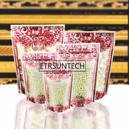 Stand Up Matte Klare Verpackung Tasche Mit Rote Blume Gedruckt Zip Lock Griff Dichtung Lebensmittel Kunststoffverpackungen Taschen 1000 stücke von Fabrikanten