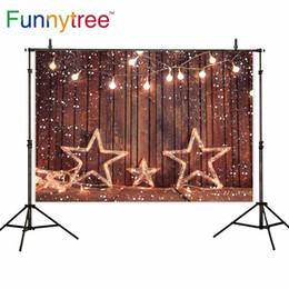 étoiles photographie fond Promotion Funnytree studio de photo arrière-plans brun bois lumières vives neige étoiles hiver nouveau-né noël photographie photophone décors