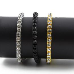 bracelet en diamant de glace Promotion Bijoux de style hip hop simple rangée strass Bracelet pour hommes Clear CZ Diamond 7-9 pouces Bling Bracelets à chaînes
