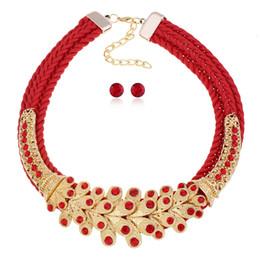 Canada vente en gros boucles d'oreilles en cristal collier tour de cou ensemble rouge ensembles de bijoux pour femmes ensemble de bijoux mariage indien ensembles de bijoux de mariée Kupe cheap indian bridal jewelry sets wholesale Offre