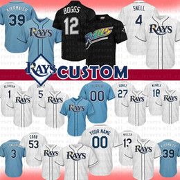 2019 tampa baseball 12 Wade Boggs Tampa Bay Custom Raias de Beisebol Jersey 4 Blake Snell 39 evin Kiermaier Duffy Evan Longoria Wendle Hechavarria Gomez a1 Arqueiro tampa baseball barato