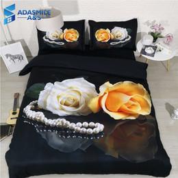Argentina Lujo Perla Rosa Ropa de cama floral Ropa de cama suave y cómoda para adultos Habitación de almohada Funda de edredón de edredón tamaño king negro Suministro