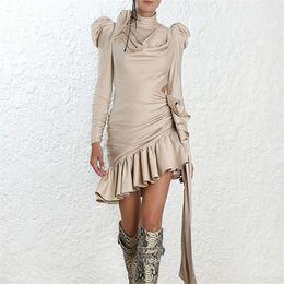 Vestidos expostos on-line-Mulheres de alta qualidade moda babados dress manga longa do vintage sereia mini-dress cintura exposta nua dress outono magro vestidos