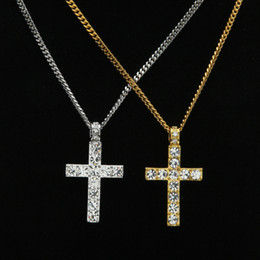cuban link chain women Promo Codes - Iced out Cross Pendant Necklace crystal Rhinestone Religion Jesus crucifix charm Gold Silver Cuban Link chain For Men women Hip Hop Jewelry