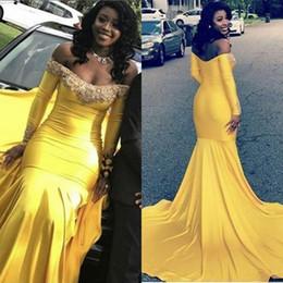 Vestido de fiesta elegante sirena de manga larga amarillo 2019 Nuevo fuera del hombro Barrido del tren Apliques Vestido de noche formal Vestidos de fiesta desde fabricantes