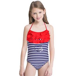 fatos de banho da marinha Desconto Nova Menina Marinha Faixa Swimsuit Crianças One Piece Terno Ruffle Lótus Maiô Backless Swimwear 5-14 Anos De Idade Das Crianças Beachwear