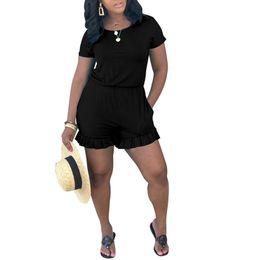 Roter spandex spielanzug online-Fühlen Sie sich schön neuesten Design Frau Street Wear Casual Romper schwarz / blau / rot Kurzarm Schlüsselloch zurück geraffte Romper Großhandel Online