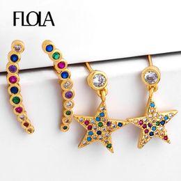 2019 aretes 24k Flola Fine Gold Filled Rainbow Earring Star 24k Gold Bar Stud Pendientes Orecchini Arcobaleno Jewelry Cheap Stud Pendientes ersq80 aretes 24k baratos