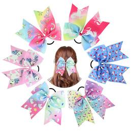 Mädchen haarbogenhalter online-7 Zoll Einhorn Valentinstag Cheer Bow mit elastischen Haarbändern für Kid Girl Einhorn Pferdeschwanz Inhaber