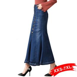 faldas de mezclilla hasta los tobillos Rebajas Más el tamaño de la llamarada del dril de faldas largas botones hacia arriba 4XL 6XL 7XL mujeres de gran tamaño atractivo de la dama de Bodycon de la longitud del tobillo de los pantalones vaqueros faldas largas Y19042402