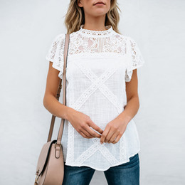 8611076f0faa STYLE Women Fashion Lace T-Shirts Summer Short Sleeve Roll Up Sleeve Button  Down T-Shirt Female Casual Tops Women S Tees New