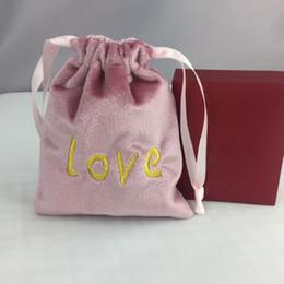 caixas de jóias de embalagem de veludo Desconto Dom Bolsas de Casamento Caixas de Bombons Anéis de Jóias Brinco Sacos de Embalagem 10 * 12/12 * 15 cm Rosa AMOR de Veludo Saco ZC0536