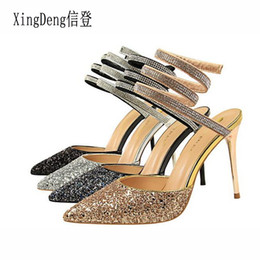 b7e25775c Women Lace Up Bandage Rhinestone Ankle Strap High Heels Sandals Shoes Lady  Sexy Party Pointed Toe Nightclub Sandal Sequins