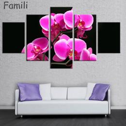 Orchideen blumen gemälde online-5 panel orchidee blume kunst blume leinwand gemälde set gemälde moderne bilder coloridas dekoration für wohnzimmer wand modular