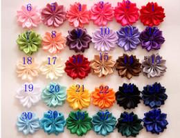 flat back tecido flores Desconto Frete grátis Tecido flores com centro de strass cristal plana de volta acessórios para faixa de cabelo faixa de cabelo