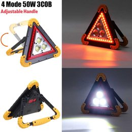 auto spotlight bulbs Coupons - Black Light Portable Work Light Rechargeable Flood Triangle Warning Auto Portatile Spotlight Searchlight COB 4 Modes