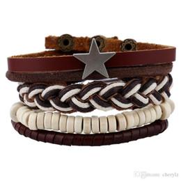 Браслеты для шпагата онлайн-Украшенные звездой белые бусы коллекция браслетов плетение из бисера шпагат браслет панк стиль мода мужской браслет DC88