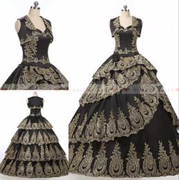 Chaqueta de encaje de oro online-2019 apliques de oro vestido de bola vestidos de quinceañera con chaqueta vestido de novia Vestidos de noche formales negros Puffy Layers encaje vestido de fiesta vestido bata