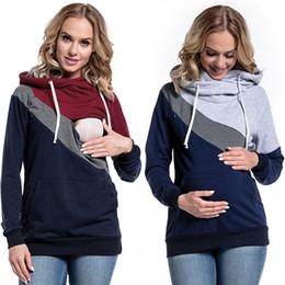 ropa para amamantar Rebajas Tallas grandes Embarazo Enfermería Mangas largas Ropa de maternidad Con capucha Lactancia Tops Tops Patchwork camiseta para mujeres embarazadas MC1444