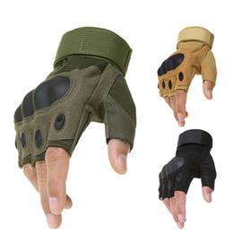 Gants de moto demi-doigts en Ligne-Moto en plein air dur Jarret sans doigts Gants Moto Motocross Militaire Tactique Chasse Vélo Demi-Doigt Protecteur