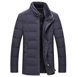 Geschäft casual daunenjacke online-Herren Stehkragen 80 Daunenjacke aus Samt Winddichte Jacke mit Business-Casual-Pelzkragen Warmer abnehmbarer Pelzmantel für den Winter