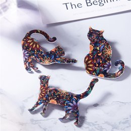 Canada New High Quailty Mode Coloré Animal Costume Collier Broche Bijoux Belle acryliques Chat Broches Accessoires Pour Femmes Fille En Gros cheap acrylic animal brooches Offre