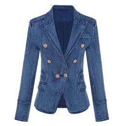 2019 donne doppie con cappuccio ricamato Giacca di alta qualità di alta moda New Designer 2018 Blazer da donna in metallo con bottoni Lion Blazer doppiopetto giacca cappotto esterno sconti donne doppie con cappuccio ricamato