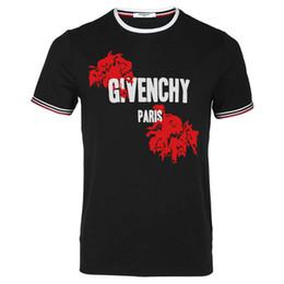 2019 разорванная рубашка 2019 летняя одежда европейский париж мужской мужской рваные хлопка giv футболка повседневная мужская футболка смешанного цвета оптом S 3XL скидка разорванная рубашка