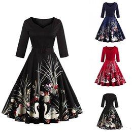 Ropa de cisne negro online-Nueva ropa de mujer negra elegante con cuello en v estampado floral de cisne vestidos casuales retro tamaño grande vestido de otoño vestido vintage FS1163