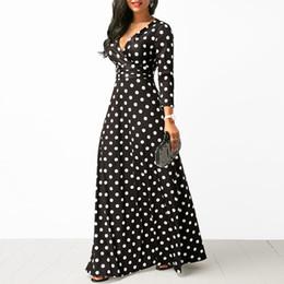 Elegantes vestidos pontilhados on-line-Mulheres Polka Dot Manga Comprida Boho Vestido Elegante Do Vintage Das Mulheres Vestidos de Festa À Noite Com Decote Em V Maxi Vestido Longo Moda Senhoras Vestidos