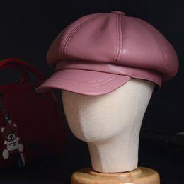 Kadın Bayanlar Hakiki Deri Koyun Derisi Renkli Bere Sekizgen kap Ressam kap Newsboy caz / Donanma / düz / Ordu Kapaklar / Şapka nereden