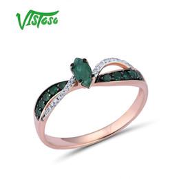 acca761c144c VISTOSO 14 K 585 Anillos de Oro Rosa Para Mujeres Anillo Genuino Magia  Esmeralda Clásico Diamante de Compromiso Aniversario Elegante Joyería Fina