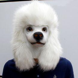 barboncino bianco Creepyparty Novelty Costume Di Halloween Lattice Party Maschera Testa di cane