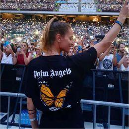 Longues chemises en coton d'été en Ligne-High Street Palm Angels T-shirt 2020SS Hommes Femmes 1p: 1 Casual Coton Été Papillon Impression Palm Angels T-shitrs Top Tees