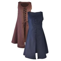 Medieval vikingo renacentista vestido de lona de algodón sin mangas con cordones vestido chaleco cosplay S-2XL desde fabricantes