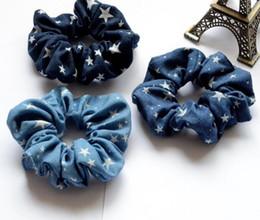 2019 vendre la ligne des cheveux Livraison Gratuite Denim étoiles cheveux femmes Scrunchies Cravate De Cheveux Accessoires Porte-queue De Cheval