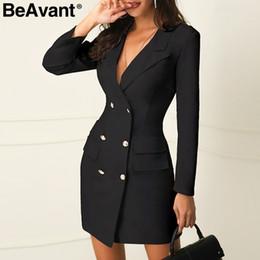 2019 дамы плюс короткие пиджаки BeAvant Элегантный черный женский пиджак платье короткое офисное платье с длинным рукавом плюс размер двубортный белый костюм женские платья 2019 дешево дамы плюс короткие пиджаки