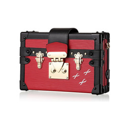2019 saco de embreagem de ouro rosa Pequena bolsa Acrílico 2017 Trunk Box Dia Clutch Evening Mulheres bolsa estilo Vintage Leather Handbag Designer Bolsa de Ombro