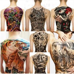 drago tigre Sconti Adesivi per tatuaggi grandi Tatuaggi a forma di torace grandi Tatuaggi di grandi dimensioni Pesci Lupo Tigre Drago Tatuaggi temporanei temporanei Flash T-shirt da uomo T190711