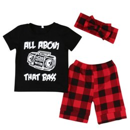 Модные майки для малышей онлайн-2019 New Toddler Baby Boy Summer Short Sleeve Printed O-Neck Tee T-shirt+Plaids Shorts Fashion Outfits Set 0-4Y