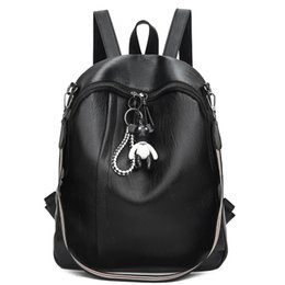 cute korean travel bag Coupons - New Fashion Shoulder Bag Female Pu Soft Leather Korean Version of The Tide Wild Backpack Female Cute Bag Big Capacity Travel