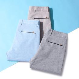 Vêtements en lin confortables en Ligne-QUANBO D'été Coton Lin Respirant Mens Casual Pantalon 2019 Nouvelle Arrivée Slim ElasticThin Confortable Pantalon Marque Vêtements
