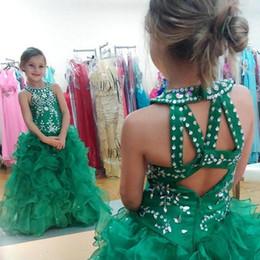 Vestido organza sequin rhinestone pageant on-line-Organza verde Ruffles Meninas Vestidos Pageant 2019 Rhinestone Frisada De Lantejoulas Primeira Comunhão Vestidos Vestidos Da Menina de Flor Barato Longo Vestidos de