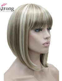 highlights short wig Promo Codes - Beauty Short Straight Blonde Highlighted Bob With Bangs Synthetic Wig Black Brown Red Women's Wigs Color Choice