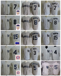 Camisetas de bebé ruth online-Vintage New York 1951 Golden 7 Mickey Mantle Béisbol Jersey 8 Yogi Berra 3 Babe Ruth 5 Joe DiMaggio 4 Lou Gehrig 15 Thurman Munson
