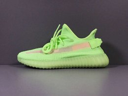 люминесцентная обувь Скидка Кроссовки Kanye GID 2019 в продаже Glow in the Dark West флуоресцентные зеленые кроссовки